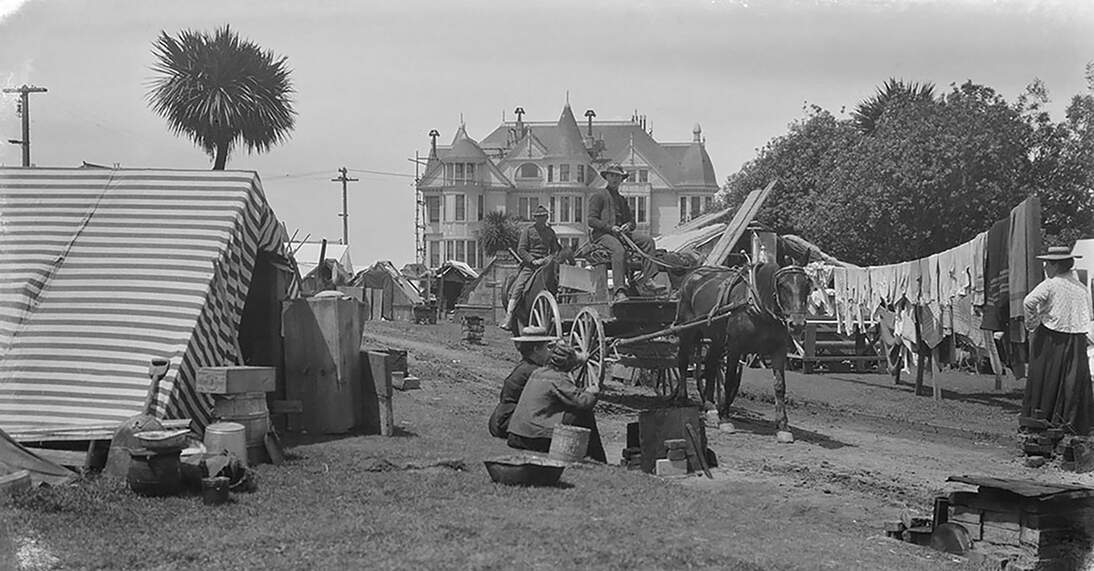 Arnold Genthe, Untitled (Lafayette Park, San Francisco), 1906. Cellulose nitrate negative, 3 1/4 x 5 11/16 in. (8.3 x 14.4 cm). Fine Arts Museums of San Francisco, Museum purchase, James D. Phelan Bequest Fund, 1943.407.81