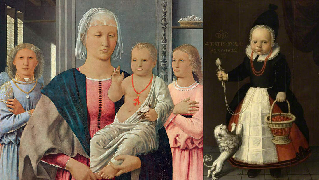 "Left: Piero della Francesca, ""Madonna di Senigallia,"" ca. 1474. Oil on panel, 26 in × 21.1 in (67 cm × 53.5 cm). Galleria Nazionale delle Marche, Urbino. Image courtesy of Wikimedia; Right: Dutch (Friesland) School, ""Portrait of a Girl, Aged One, with a Basket of Strawberries,"" 1622. Oil on panel, 49 1/2 x 26 1/2 in. (125.8 x W 67.3 cm). The Burrell Collection, gift from Sir William and Lady Burrell to the City of Glasgow, 1944 35.252. Image courtesy of ArtUK.org"