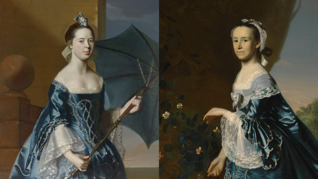 "Left: John Singleton Copley, ""Mrs. Benjamin Pickman (Mary Toppan),"" 1763. Oil on canvas, 50 x 40 in. (127 x 101.6 cm). Yale University Art Gallery, New Haven, Bequest of Edith Malvina K. Wetmore, 1966.79.3. Image courtesy of Yale University Art Gallery; Right: John Singleton Copley, ""Mrs. James Warren (Mercy Otis),"" ca. 1763. Oil on canvas, 495/8 x 391/2 in. (126.1 x 100.3 cm). Museum of Fine Arts, Boston, Bequest of Winslow Warren, 31.212. Image courtesy of the Museum of Fine Arts Boston"