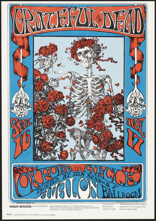 "Stanley Mouse and Alton Kelley, ""Skeleton and Roses,"" Grateful Dead"