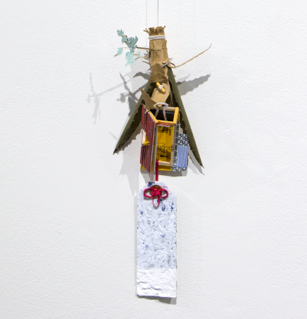 Weston Teruya, Extracting Gold in the New City, 2016. Paper sculpture from recycled office supplies, building paper, wrapping paper, and start-up brochures, dimensions variable.