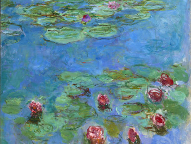 "Monet: The Late Years Claude Monet, ""Water Lilies"" (detail), 1914–1917. Oil on canvas, 71 x 57 1/2 in. (180 x 146 cm.). Fine Arts Museums of San Francisco, Museum purchase, Mildred Anna Williams Collection, 1973.3"
