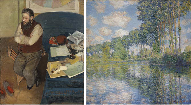 L: Edgar Degas, Diego Martelli, 1879. Oil on canvas. Scottish National Gallery. R: Claude Monet, Poplars on the Epte, 1891. Oil on canvas. Scottish National Gallery