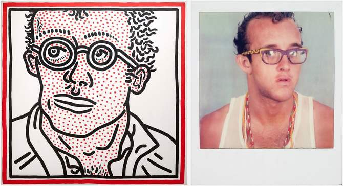 L: Keith Haring (1958–1990), <em>Untitled (Self-Portrait)</em>,1985. Acrylic on canvas. Private collection. Keith Haring artwork © Keith Haring Foundation. R: Keith Haring, self-portrait, 1980-1981. One of four Polaroids. Collection of the Keith Haring Foundation