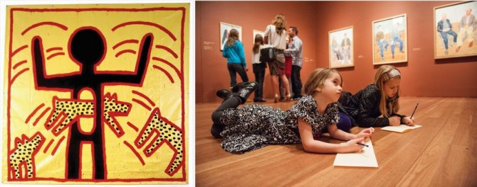 L: Keith Haring, <em>Untitled</em>, 1982. Vinyl ink on vinyl tarpaulin. Private collection. © Keith Haring Foundation. R: Courtesy of Drew Altizer Photography