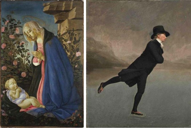 L: Sandro Botticelli, The Virgin Adoring the Sleeping Christ Child, ca. 1490. Tempera and gold on canvas. Scottish National Gallery. R: Henry Raeburn, Reverend Robert Walker, Skating on Duddingston Loch, ca.1795. Oil on canvas. Scottish National Gallery