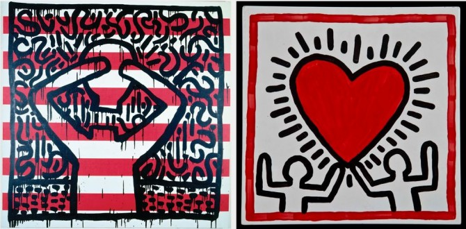L: Keith Haring, <em>Untitled</em>, 1981. Acrylic on canvas. Private collection © 2014, Keith Haring Foundation. R: <em>Untitled</em>, 1982. Baked enamel on steel. Collection of Justin Warsh © 2014, Keith Haring Foundation