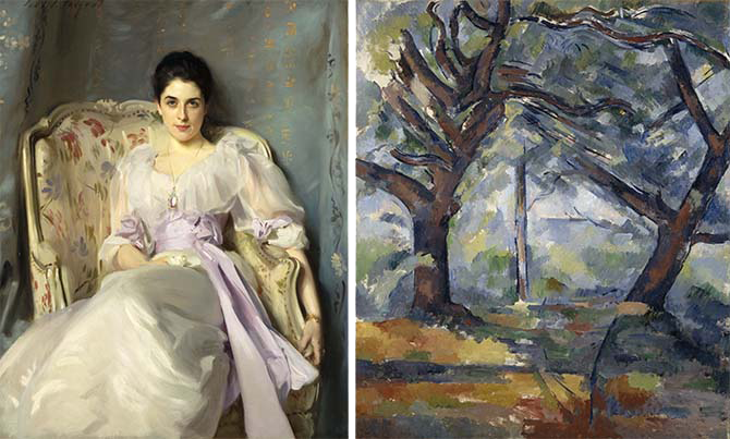 L: John Singer Sargent, Lady Agnew of Lochnaw, 1892. Oil on canvas. Scottish National Gallery. R: Paul Cézanne, The Big Trees, ca. 1904. Oil on canvas. Scottish National Gallery