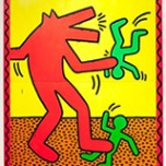 Keith Haring, Untitled, 1982. Enamel and Day-Glo paint on metal. Collection of the Keith Haring Foundation. Keith Haring artwork © Keith Haring Foundation