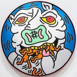 Keith Haring, Untitled, 1982. Baked enamel on metal. Private collection. Keith Haring artwork © Keith Haring Foundation