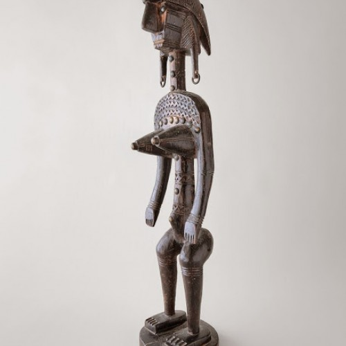 Figure used in male initiation ceremony, late 19th century. Mali, Bamana. Wood and copper alloy. Richard H. Scheller Collection. Photo © Robert A. Kato