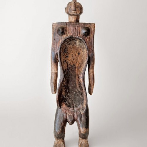 Gbene (human figure combined with cup) used for ceremonial beverages, early to mid-20th century. Nigeria, Koro. Wood and pigment. Richard H. Scheller Collection. Photo © Robert A. Kato