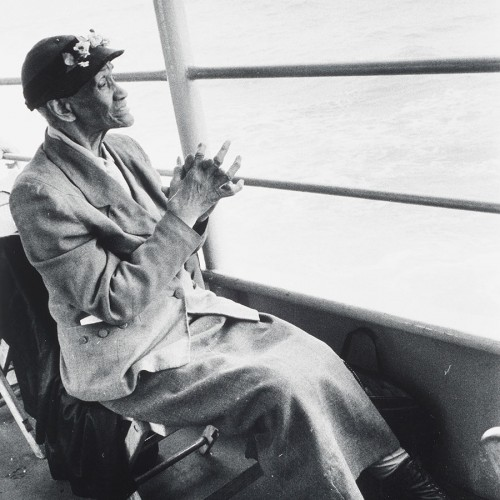 "Bruce Davidson, ""Untitled (Elderly Woman, Staten Island Ferry)"" from ""Time of Change"", 1962. Printed later gelatin silver print. Fine Arts Museums of San Francisco, Michael and Joyce Axelrod Collection. © Bruce Davidson/Howard Greenberg Gallery"