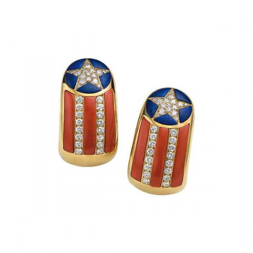 """Star Spangled Banner"" earrings"