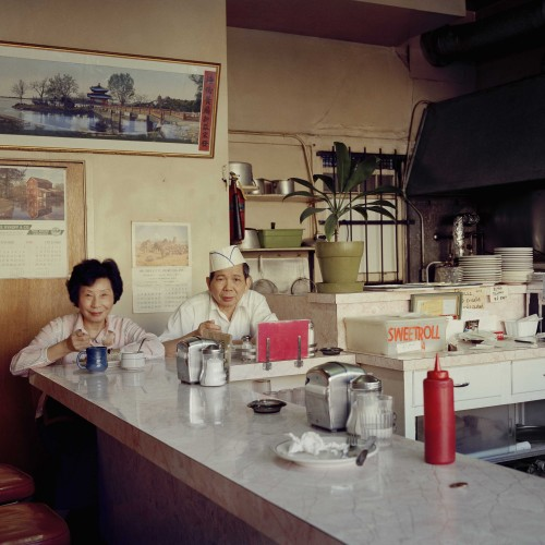 Janet Delaney, Helen and her Husband at the Helen Café, 486 Sixth Street, 1980. Archival pigment print. Image courtesy of the artist. © 2014 Janet Delaney