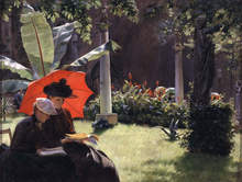 """Charles Courtney Curran, """"Afternoon in the Cluny Garden, Paris,"""" 1889"""