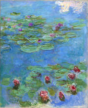 "Claude Monet, ""Water Lilies"" (detail), 1914–1917. Oil on canvas, 71 x 57 1/2 in. (180 x 146 cm.). Fine Arts Museums of San Francisco, Museum purchase, Mildred Anna Williams Collection, 1973.3"