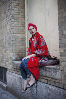 Langston Hues (American, b. 1988), Feda Eid, Boston, Massachusetts, visual artist, photographer, and style blogger, 2013 - 2015. Digital photograph with Canon 5D Mark 1 and Mark 2 camera. From Modest Street Fashion vol. 1, 2014. Courtesy of the artist.