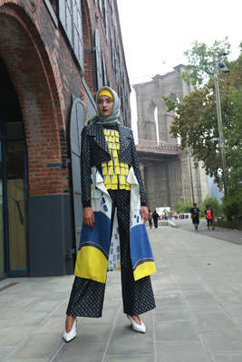 "DIAN PELANGI (b. 1991, Indonesia) ""Dian Pelangi Alurrealist"" for New York Fashion Week First Stage 2017, ensemble (cap, headscarf, top, jacket, skirt, and pants), 2017 Thai silk, viscose with wood bead appliqué, supplementary-weft patterning with metallic thread (songket), Thai silk with wax-resist (batik) and supplementary-weft patterning with metallic thread (songket)"