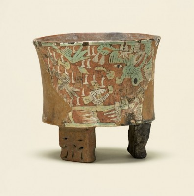 Tripod vessel with blowgunner, 450–550. Ceramic with post-fire stucco and pigment, 5 3/8 x 5 3/4 in. (13.7 x 14.6 cm). Los Angeles County Museum of Art, Gift of Constance McCormick Fearing, AC1998.209.15. Photo © Museum Associates / LACMA
