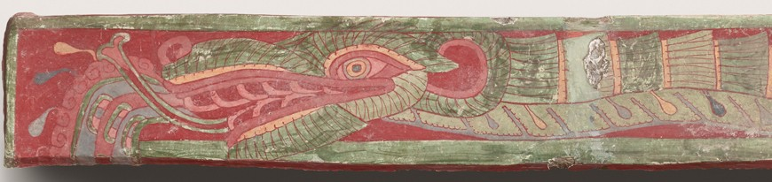 Feathered Serpents and Flowering Trees mural (Feathered Serpent 1) (detail), 500–550. Earthen aggregate, stucco, and mineral pigments, 22 1/4 x 160 1/4 in (56.5 x 407 cm). Fine Arts Museums of San Francisco, Bequest of Harald J. Wagner, 1985.104a