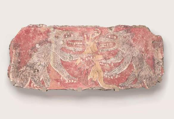 Mural Fragment (coyotes and deer), 4th–5th century Mexico, Teotihuacan, Techinantitla