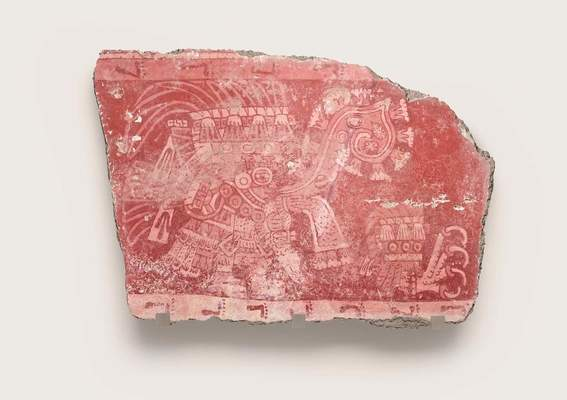 Mural fragment (tassel headdress figure and talon glyph), 6th century Mexico, Teotihuacan, Techinantitla
