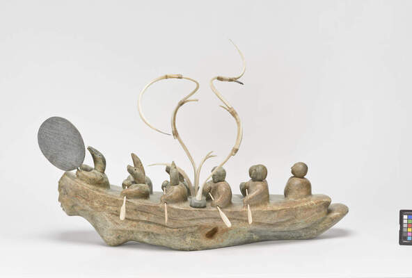Levi Tetpon (American, Inupiaq, b. 1952), Untitled, 1995. Walrus tusk, whale baleen, wood, paint, 2 x 6 1/4 x 2 3/8 in. Bequest of Thomas G. Fowler, 2007.21.273
