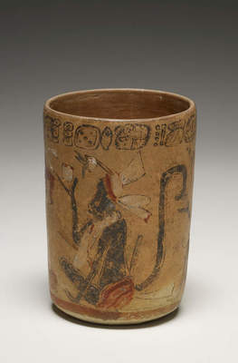 Vase with two seated monkeys and a cacao tree, A.D. 600–900 Mexico or Guatemala