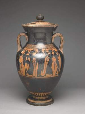 Black-figure amphora with lid, Attributed to a painter in the Leagros Group Greek, Athens, found at Vulci, 530–520 BC. Terracotta, H 25 3/4 in. (65.4 cm). Side A: Warriors brawling (Ajax and Odysseus?); Side B: Dionysos with musical procession of satyrs and maenads. Fine Arts Museums of San Francisco, Gift of M. H. de Young, 24874.1-2