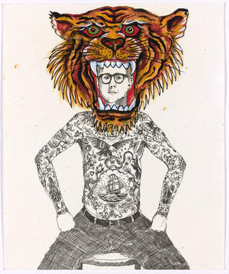 "Ed Hardy: Deeper than Skin. de Young Museum. Don Ed Hardy, ""El Tigre,"" 2009. Acrylic on digital print."