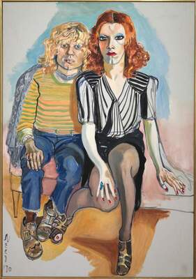 Painting of a blonde figure wearing blue jeans and a yellow striped top, sitting closely next to a redhead wearing a white blouse and black skirt.