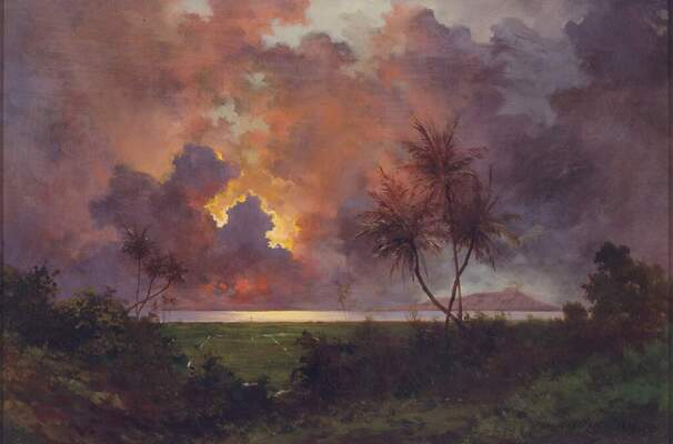 Sun rising against purple and yellow clouds, grass and palm trees surround the foreground.