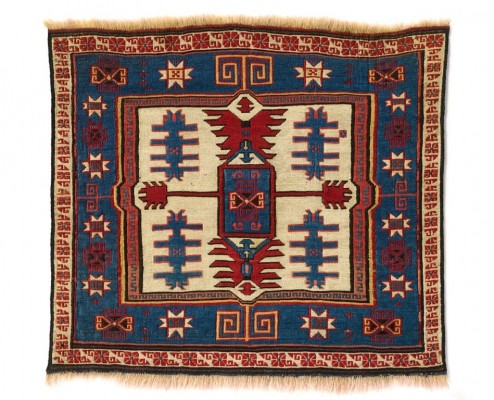 Saddlebag face, northwest Persia, Moghan region, Shahsevan tribe, 19th century. Wool; weft-wrapped weave (sumak). Collection of Bruce and Terry Baganz