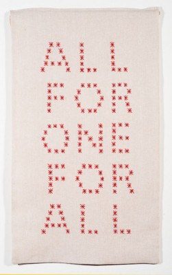 """All For One For All,"" Lena Wolff, 2017 cotton thread on linen 28.75 x 16.5"""
