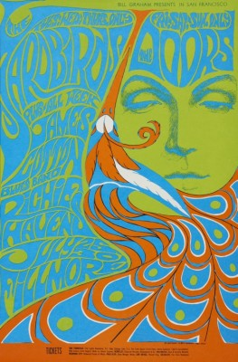 """Bonnie MacLean, """"Yardbirds, The Doors, James Cotton Blues Band, Richie Havens, July 25-30, Fillmore Auditorium"""", 1967. Color offset lithograph poster. Fine Arts Museums of San Francisco, Museum purchase, Achenbach Foundation for Graphic Arts Endowment Fund, 1972.53.103. Bill Graham Archives, LLC. All rights reserved."""