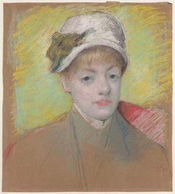 Pastel of a young woman wearing a hat in front of a yellow background. Her face is  pale pink and her hat is white with a green ribbon around the brim. Her shoulders are sketched with little detail.
