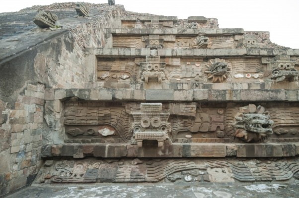 View of the facade of the Feathered Serpent Pyramid