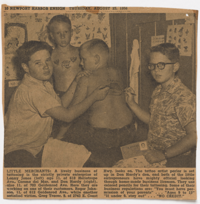 Newspaper clipping from the Newport Harbor Ensign, 1956. Photo by Arvo Haapa. Courtesy of Don Ed Hardy