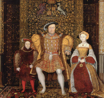 """British school, """"The Family of Henry VIII"""" (detail), ca. 1545"""