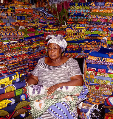 Madam Theresah Osei, African-print trader, in her downtown shop