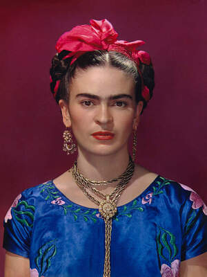 Nickolas Muray,Frida in Blue Dress, New York City, 1939. 12.6 x 9.4 inches (32 x 24 cm). The Hecksher Family Collection © Nickolas Muray Photo Archives