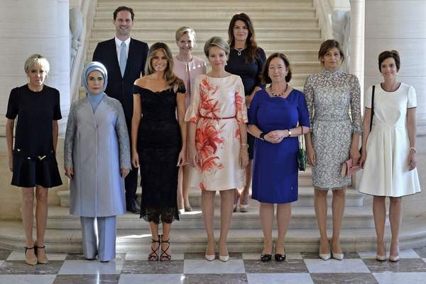 Dinner of the First Ladies and Queen of Belguim at the royal castle in Brussels, Belgium