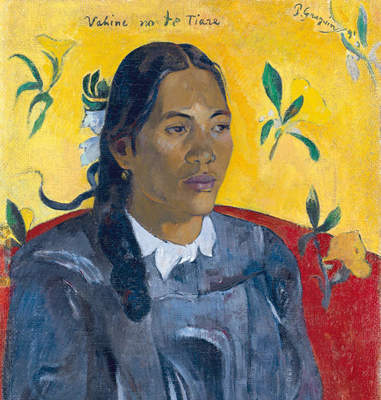 """Paul Gauguin, """"Tahitian Woman with a Flower"""" (detail), 1891"""