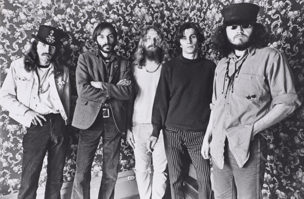 Bob Seidemann, Five San Francisco poster artists [left to right: Alton Kelley, Victor Moscoso, Rick Griffin, Wes Wilson, and Stanley Mouse], 1967