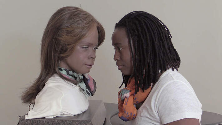"Still of Stephanie Dinkins, ""Conversations with Bina48,"" 2014–present."