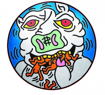 Keith Haring, <em>Untitled</em>, 1982. Baked enamel on metal. Private collection. Keith Haring artwork © Keith Haring Foundation