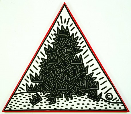Keith Haring, A Pile of Crowns for Jean-Michel Basquiat, 1986. Acrylic on canvas. Collection of the Keith Haring Foundation.Keith Haring artwork © Keith Haring Foundation