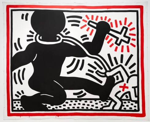 Keith Haring, Untitled (Apartheid), 1984. Acrylic on canvas.Private collection. Keith Haring artwork © Keith Haring Foundation