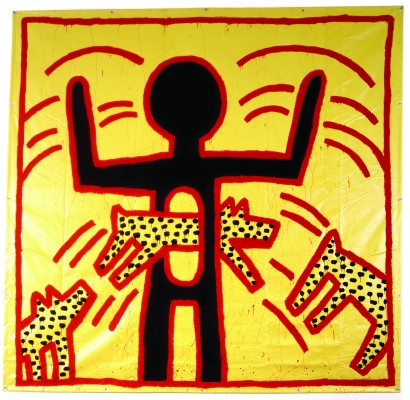 Keith Haring, Untitled, 1982. Vinyl ink on vinyl tarpaulin. Private collection. © Keith Haring Foundation